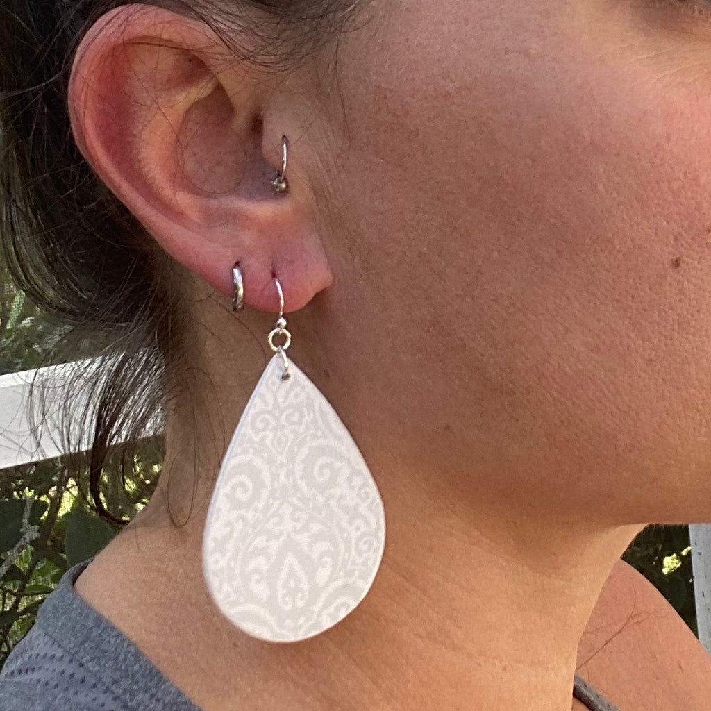 White and Gray Damask Print Wood Earrings
