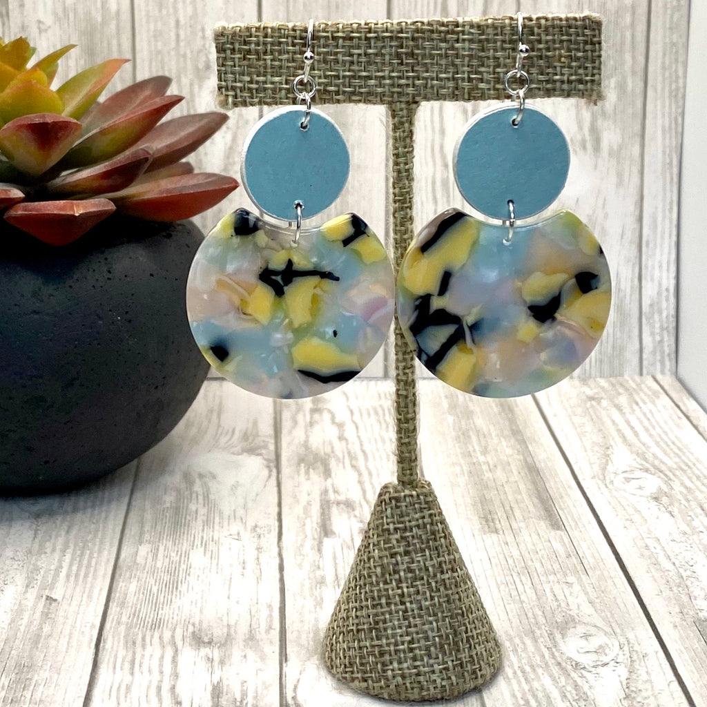 Handmade Wood and Acrylic Earrings Blue Yellow and Pink Double Circle