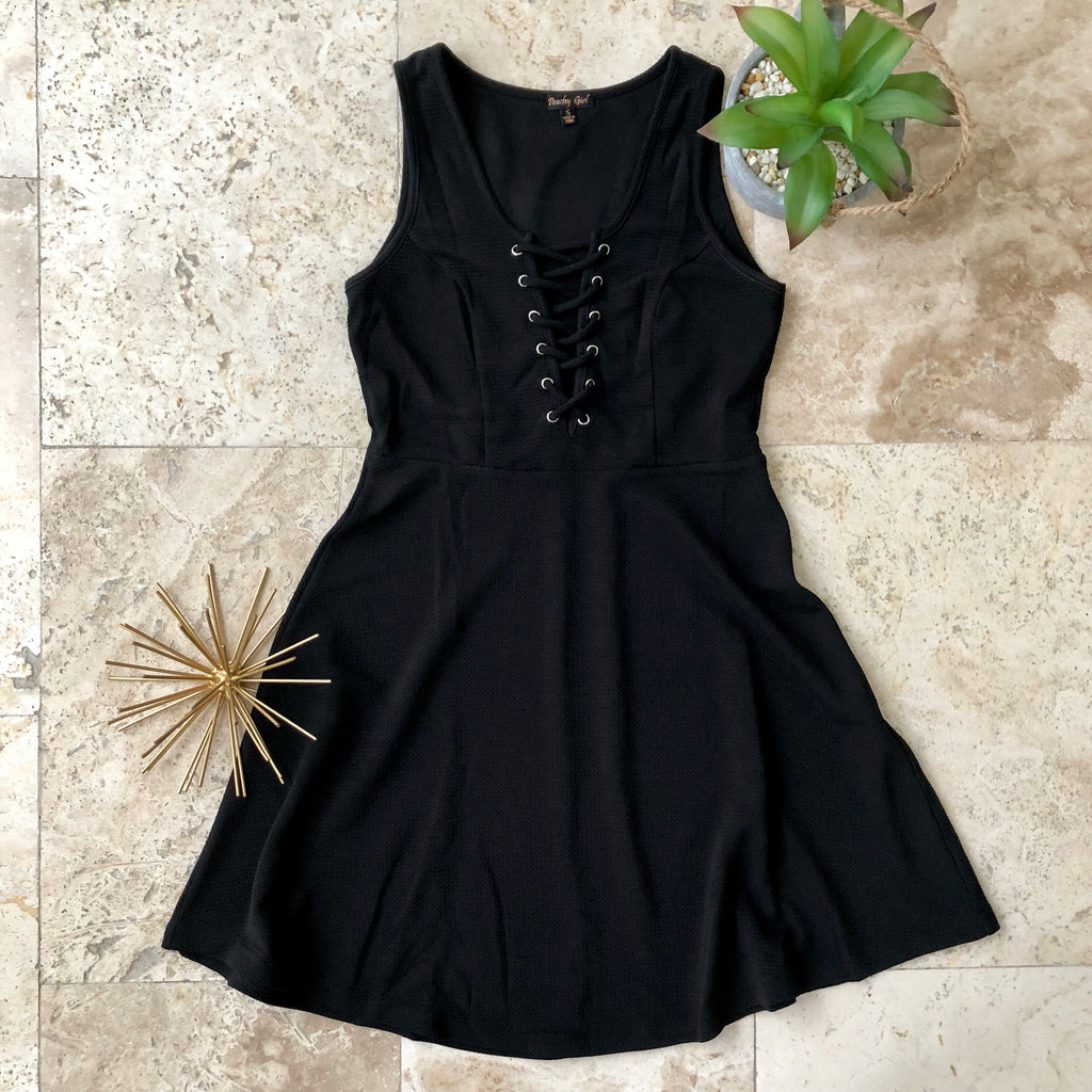 Black Lace Up Dress - the-a-to-z-boutique