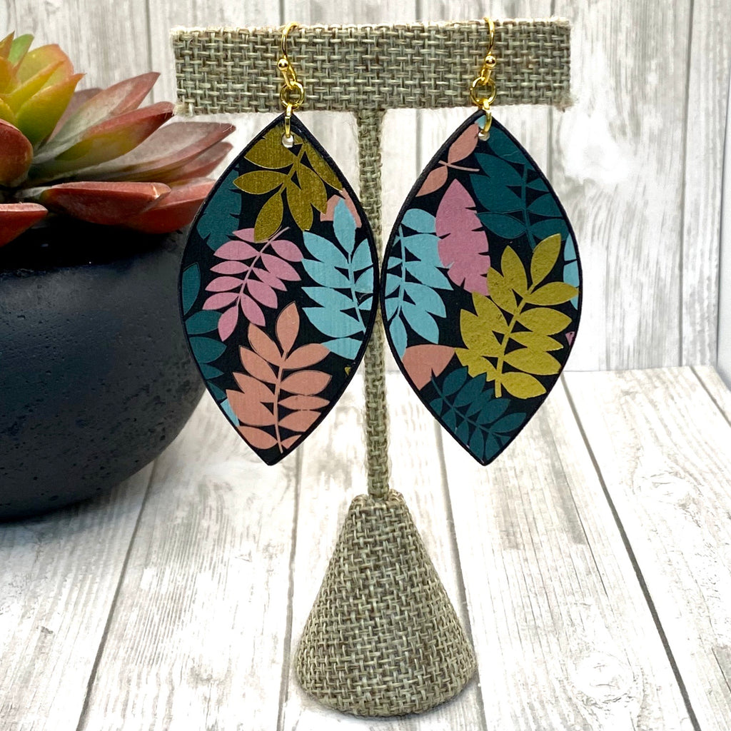 Double Sided Black Gold Pink & Blue Leaf Wood Earrings