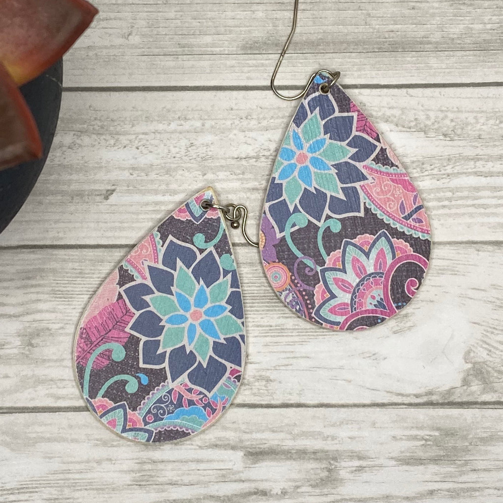 Pink mint Paisley Floral Wood Earrings