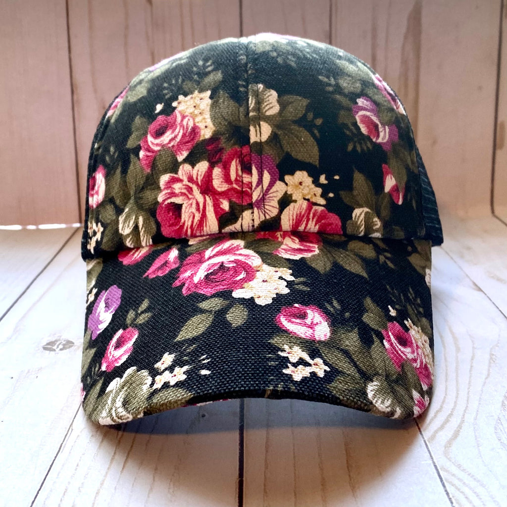 Black and Pink Floral Trucker Hat