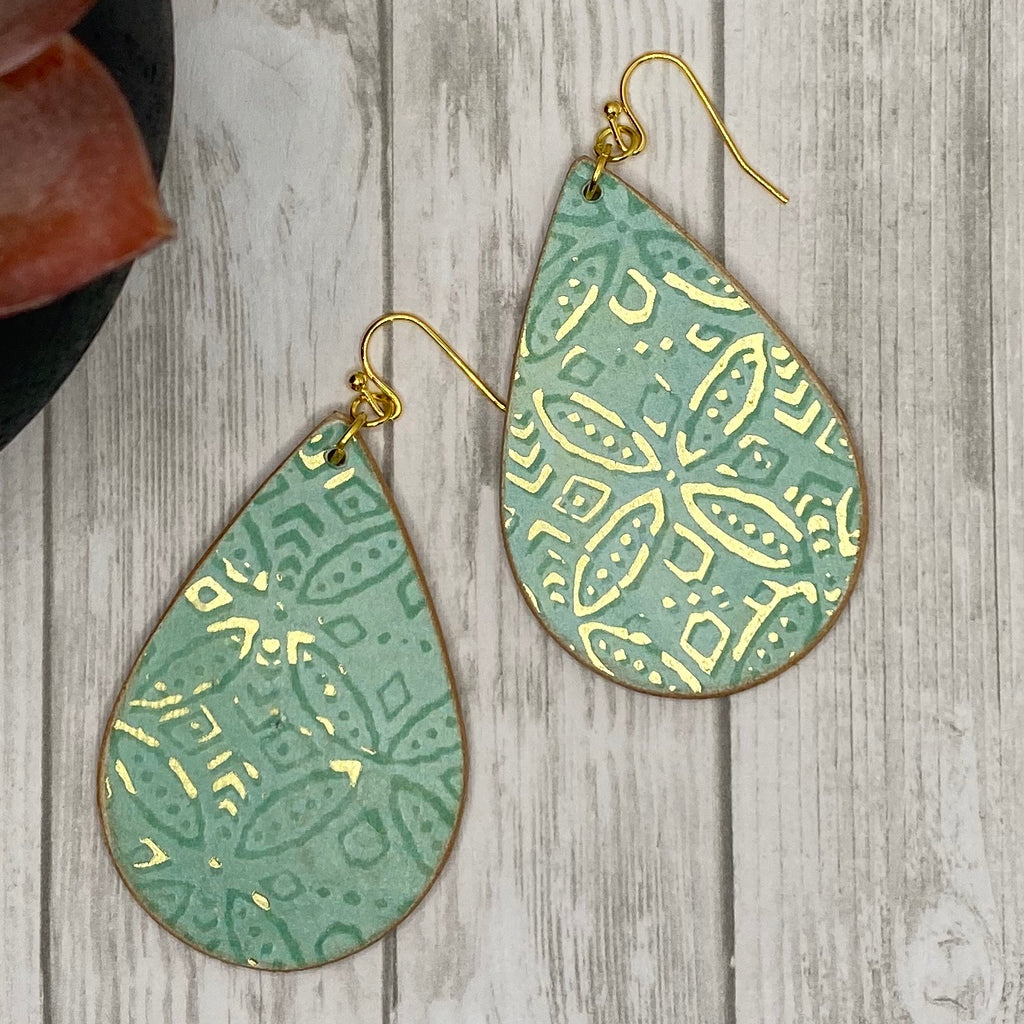 Mint and Gold Wood Earrings