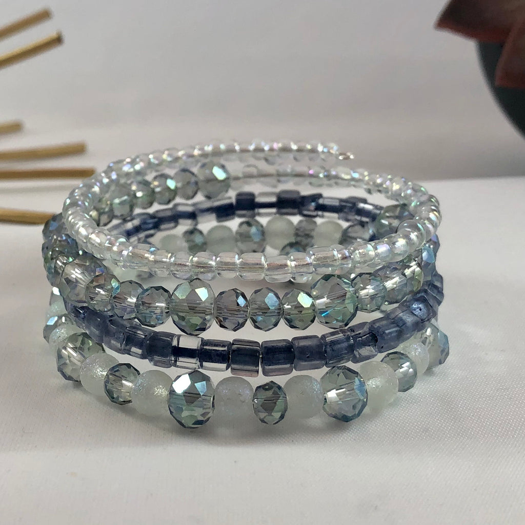 Handmade Blue Beaded Wrap Bracelet