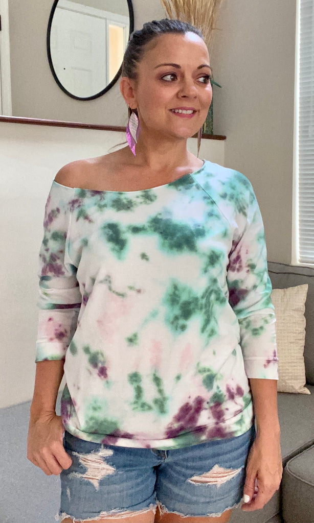 Green Tie Dye Off The Shoulder Top