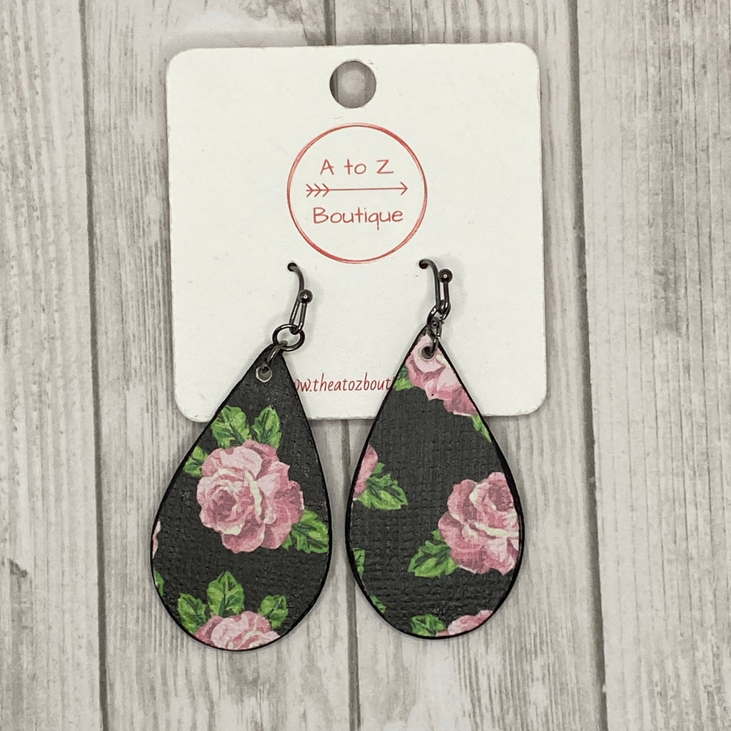 Handmade Wood Black Floral Earrings