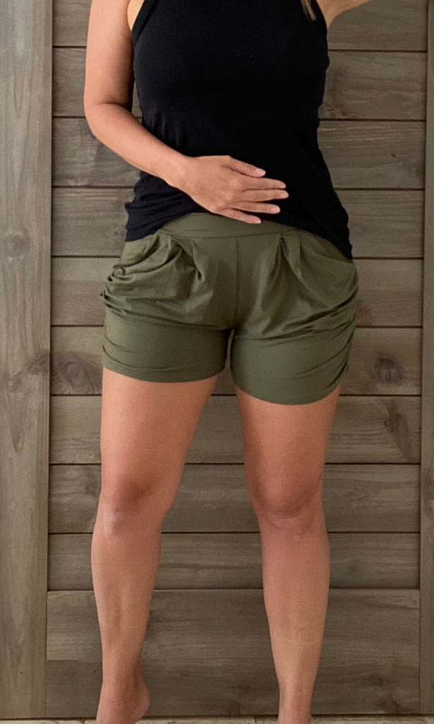 Olive Green Harem Shorts