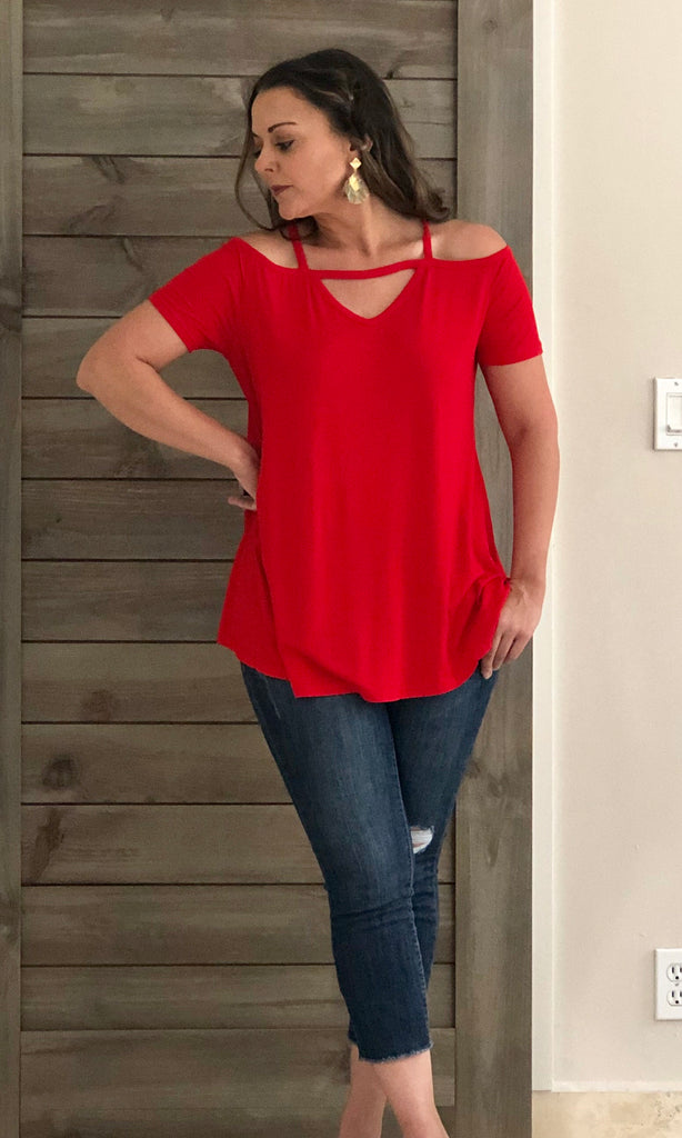 Red Off The Shoulder Top - the-a-to-z-boutique