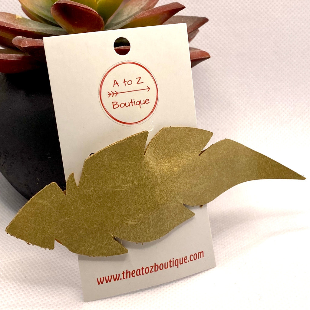 Tan Leather Leaf Hair Clip