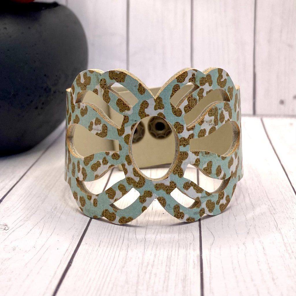 Mint Animal Print Cutout Cork Cuff