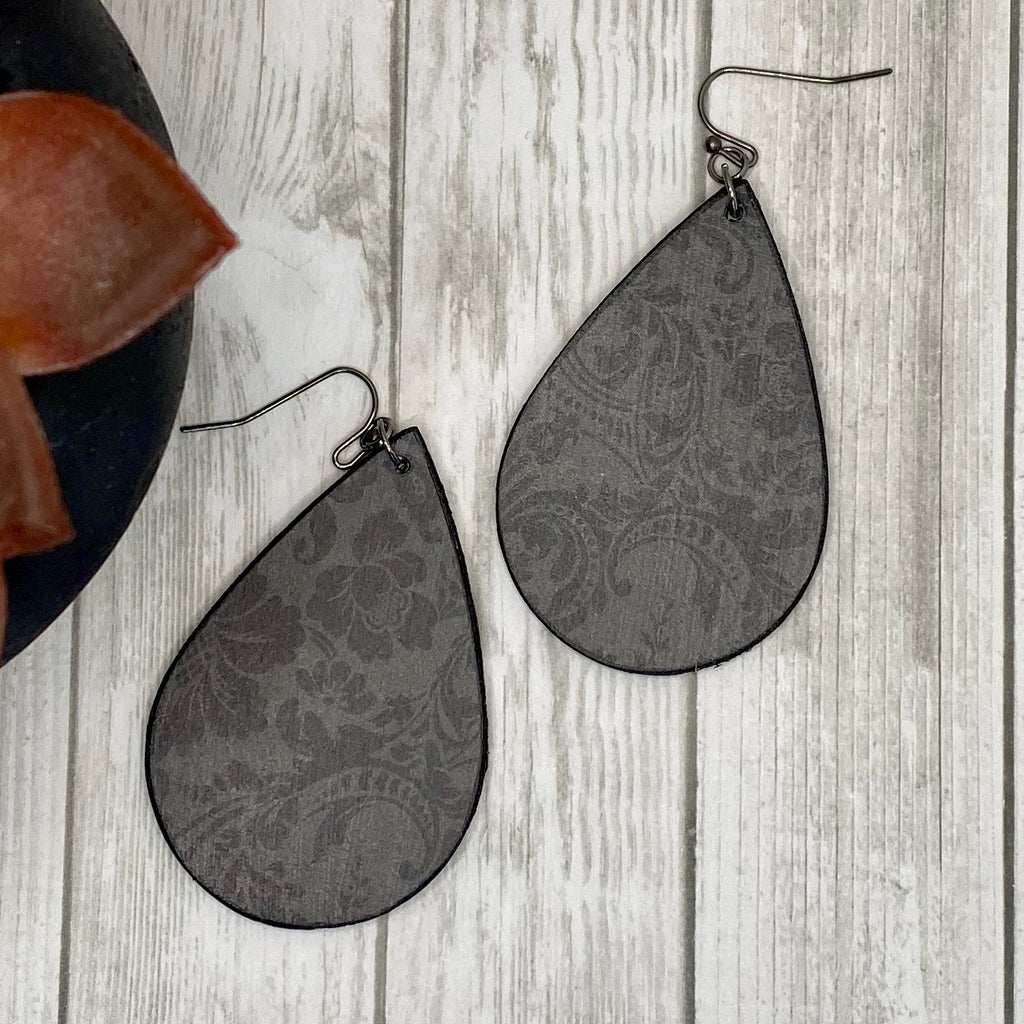 Black Damask Wood Earrings