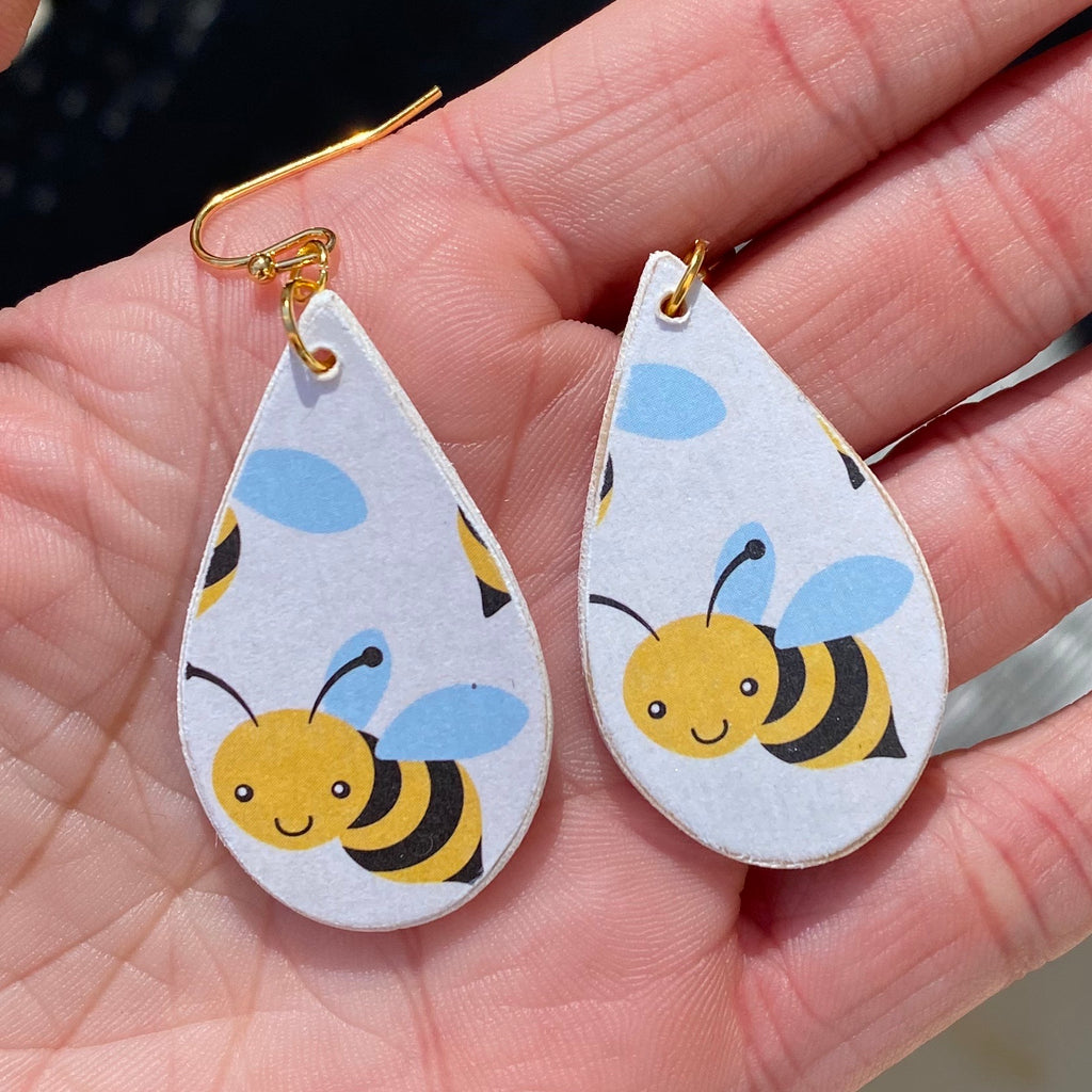 Double Sided Handmade Wood Bee Earrings