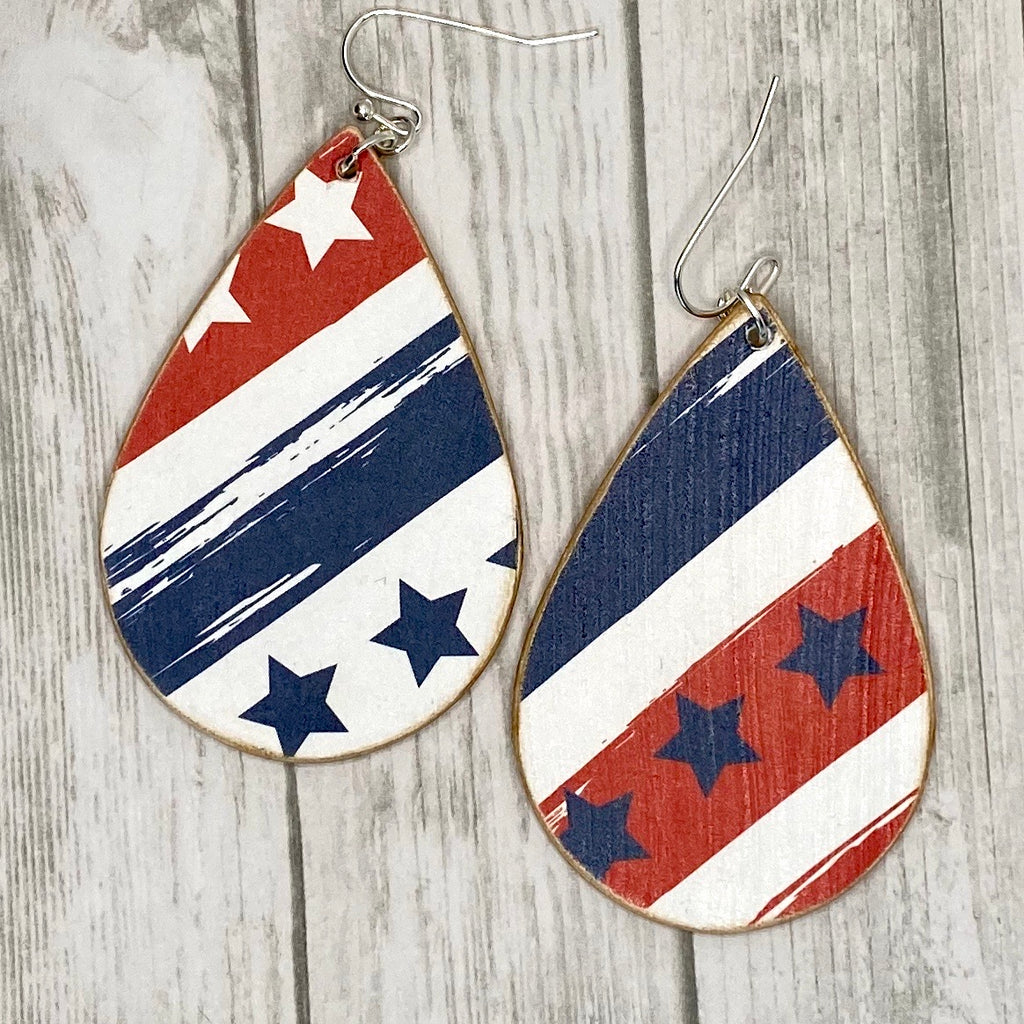 Red White Blue Stars Stripes Wood Earrings