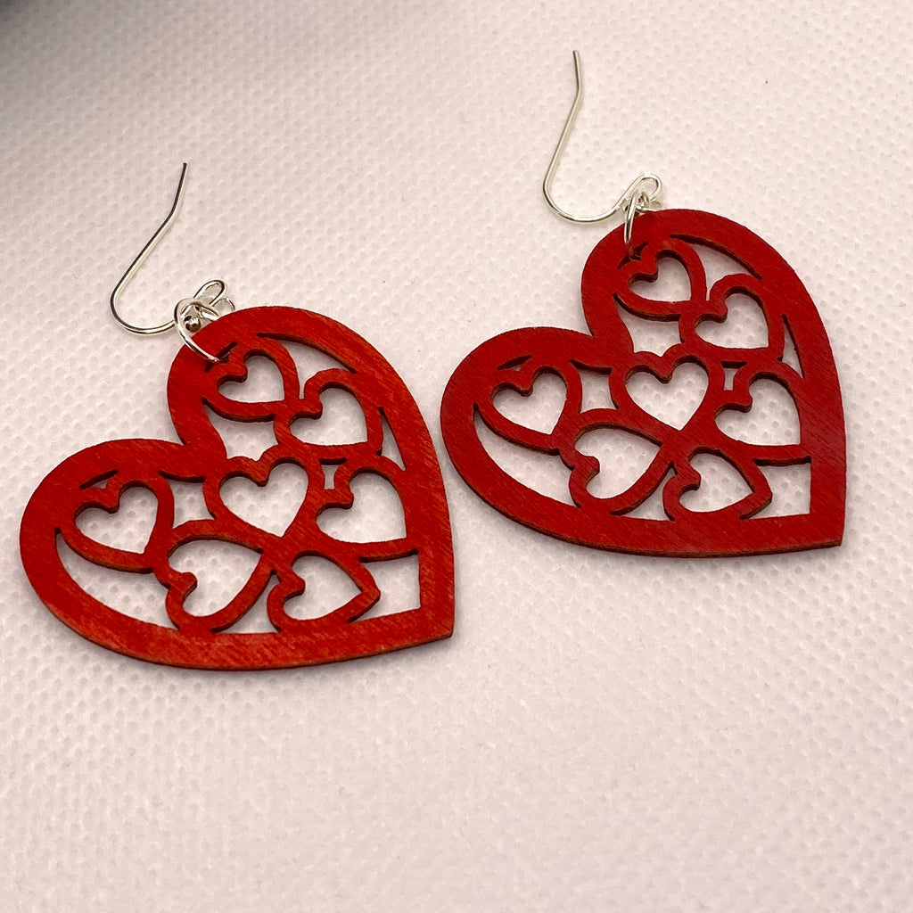 Red Heart Cutout Wood Earrings