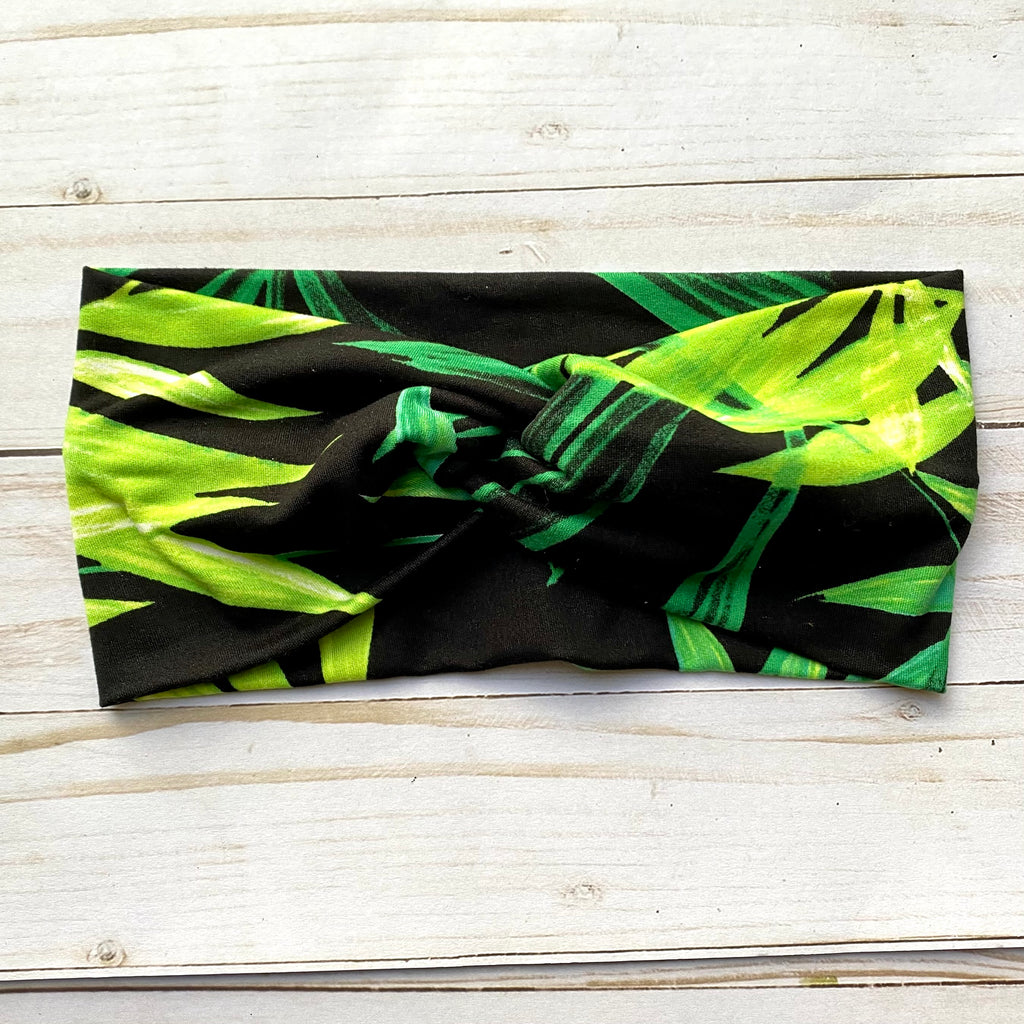Black and Green Palm Leaf Knotted Head Wrap