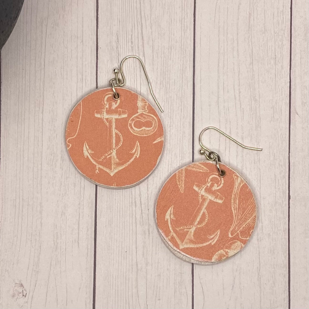 Coral Anchor Wood Earrings