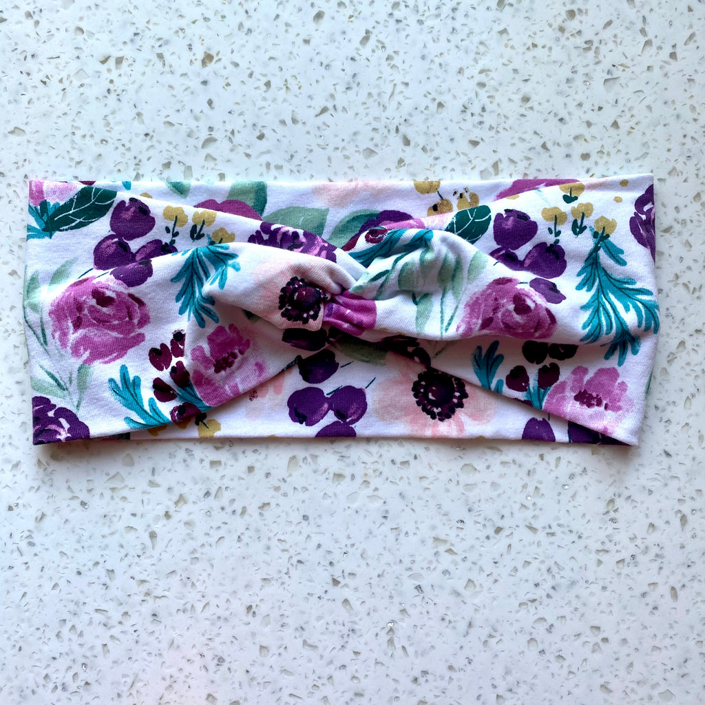 Purple Floral Knotted Head Wrap