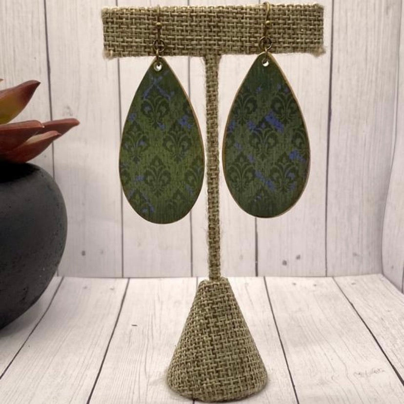 Green and Blue Damask Wood Earrings