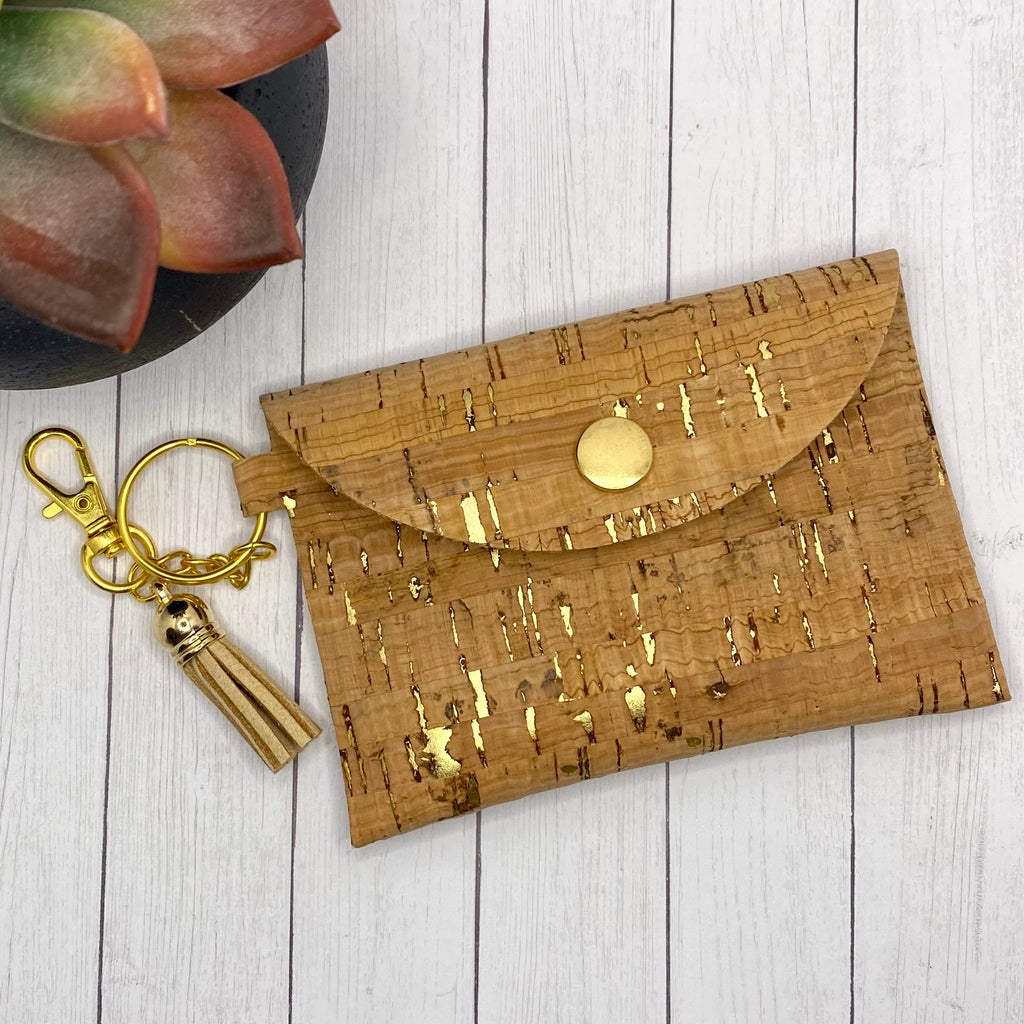 Natural Cork and Gold ID Wallet Mask Holder