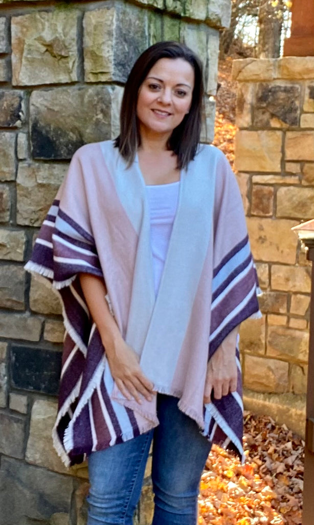 Mauve and Blue Striped Wrap
