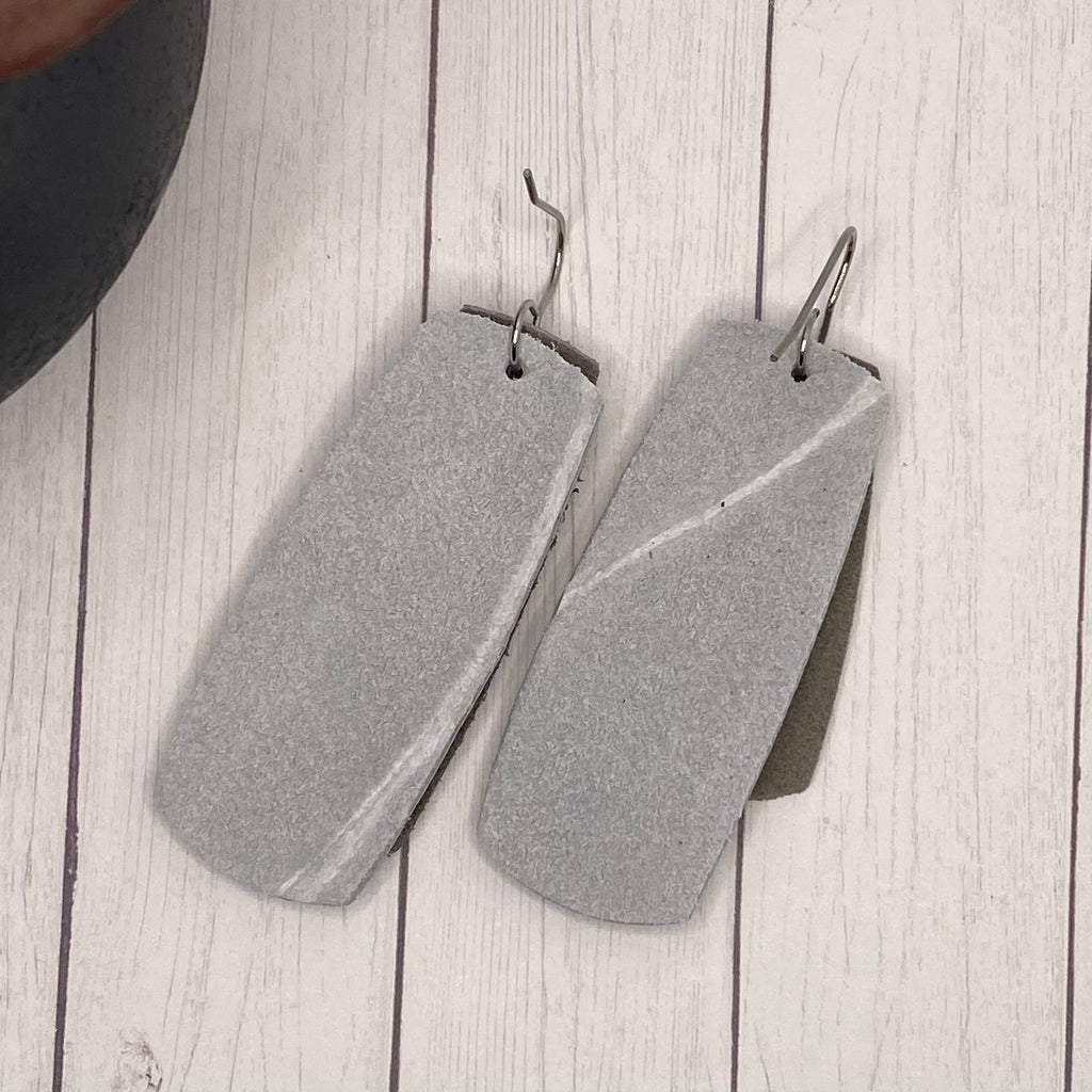 Triple Rectangle Silver Filagree Genuine Leather Earrings