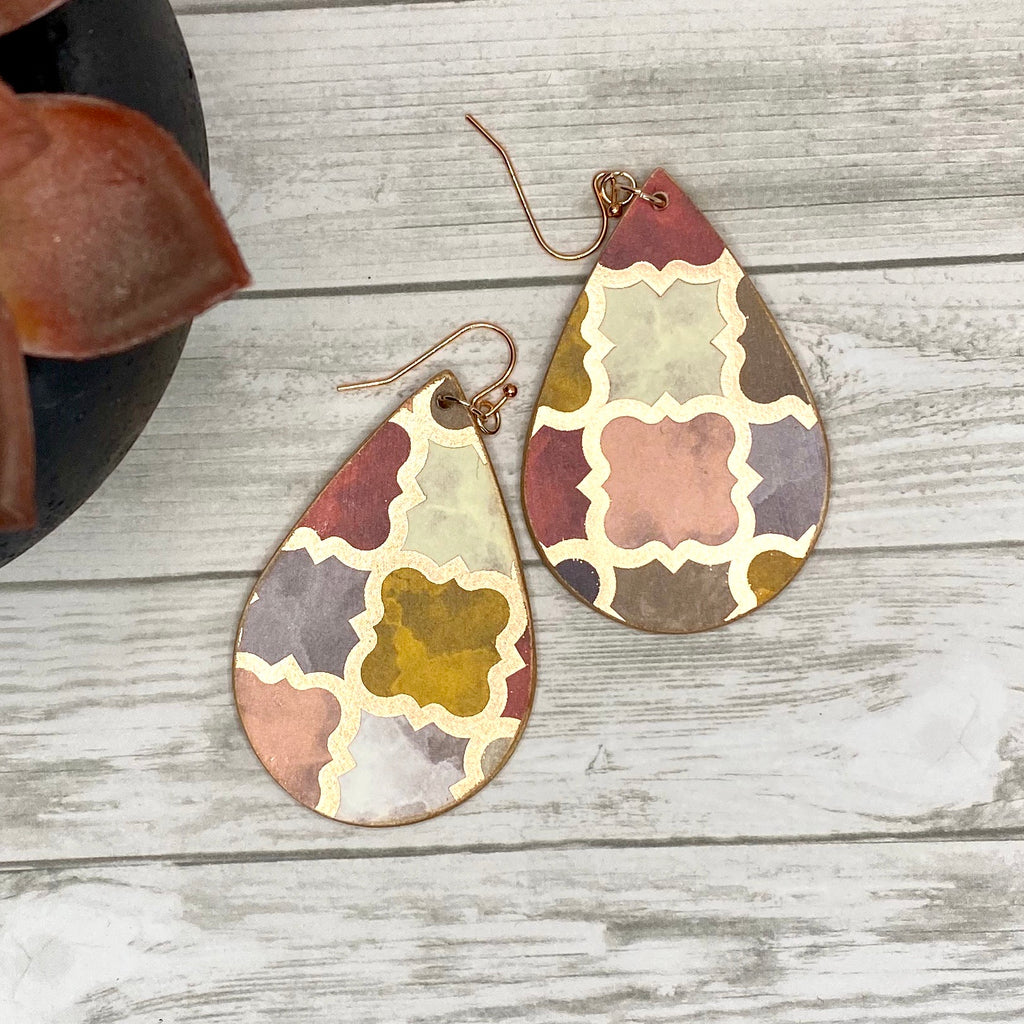Rose Gold Moroccan Tile Wood Earrings