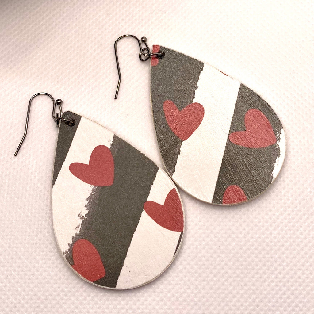 Heart and Striped Wood Earrings