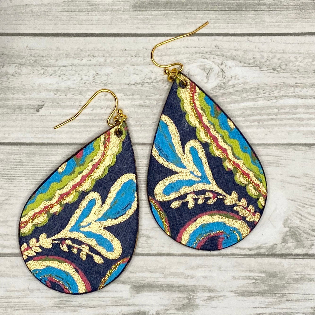 Navy and Gold Paisley Wood Earrings