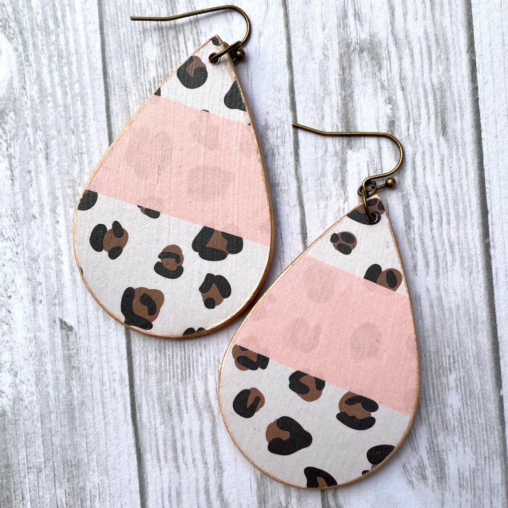 Handmade Pink and Leopard Earrings