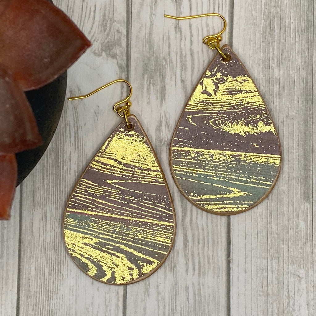 Brown Turquoise and Gold Wood Earrings