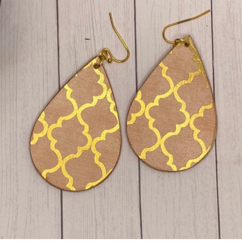Pink and Gold Moroccan Tile Wood Earrings