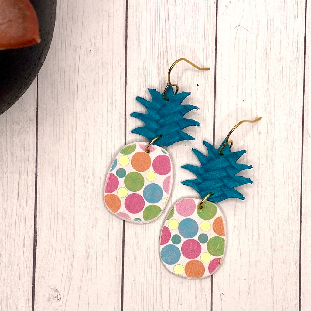 Teal and Polka Dot Pineapple Earrings