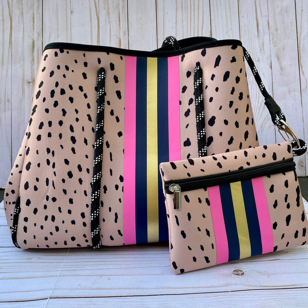 Tan and Black Animal Print Neoprene Tote Purse