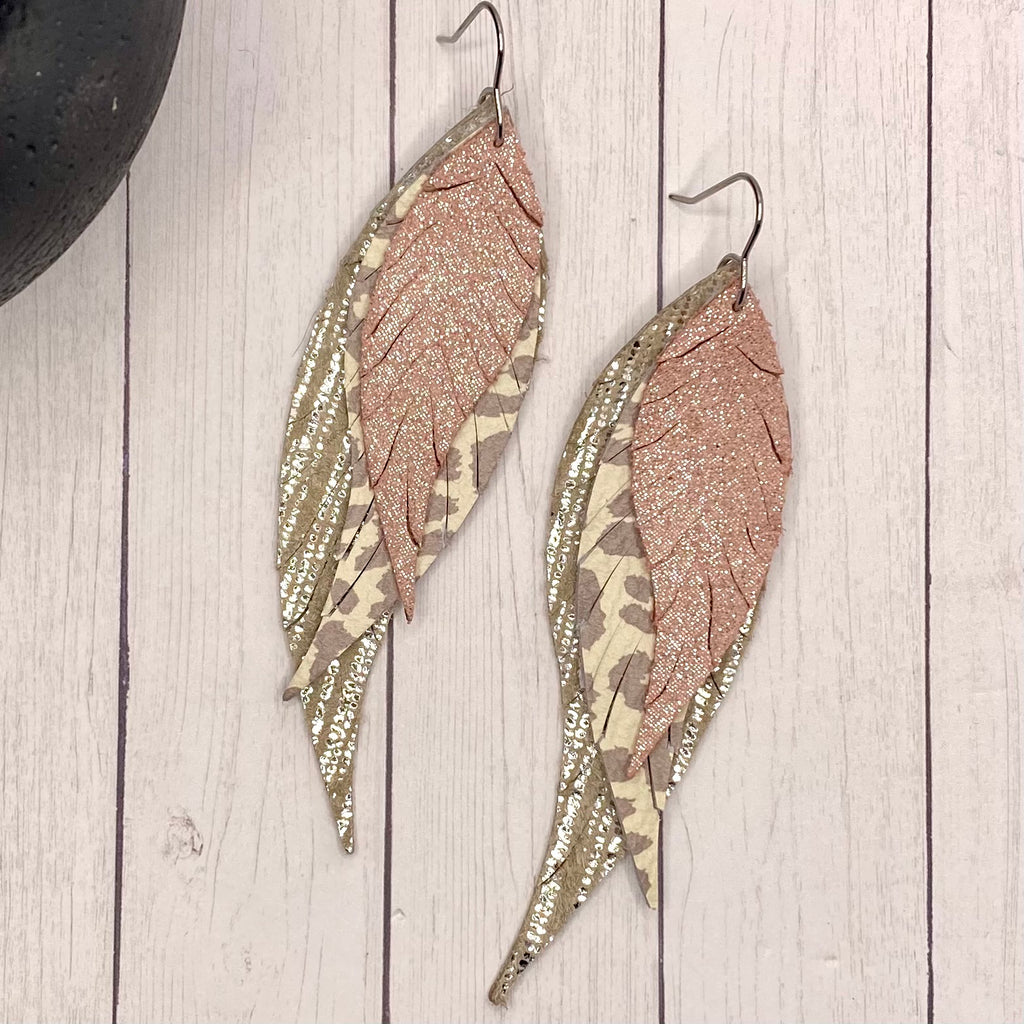Pink, Silver Gray Animal Genuine Leather Feather Earrings