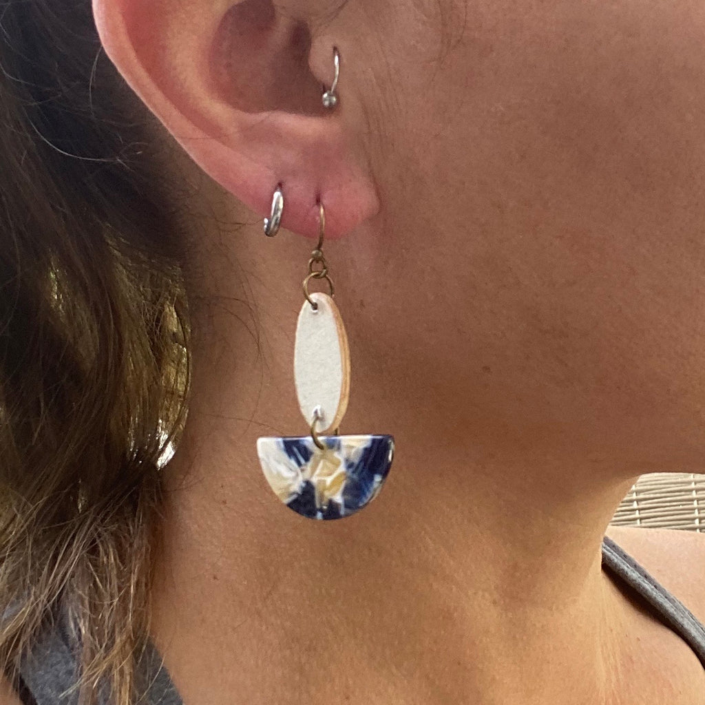 Navy and Cream Wood and Acrylic Earrings