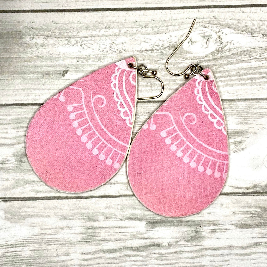 Pink and White Wood Earrings