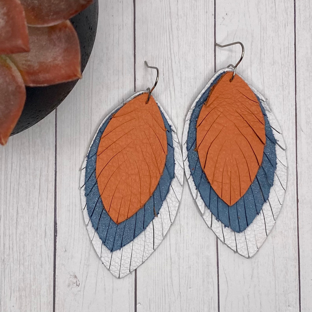 White Blue And Coral Large Leather Feather Earrings