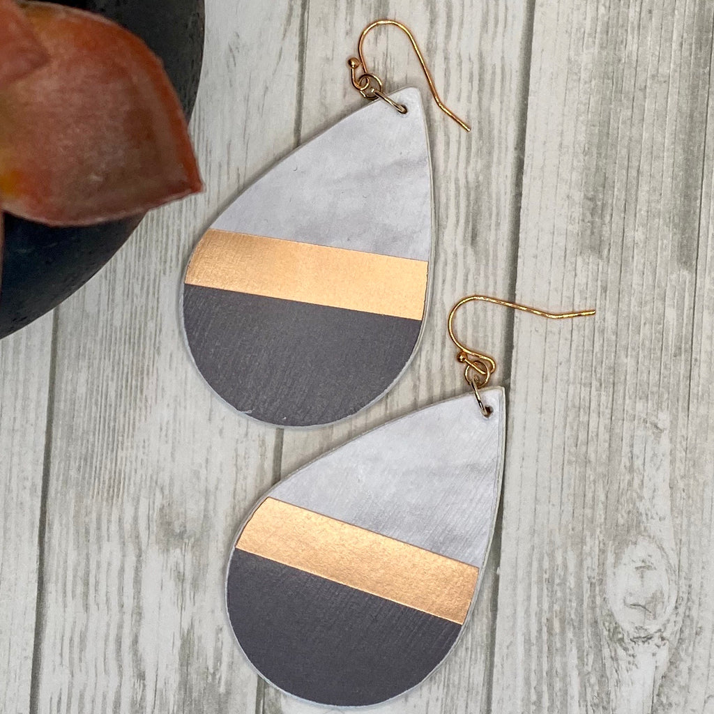 Wood Black and Rose Gold Earrings