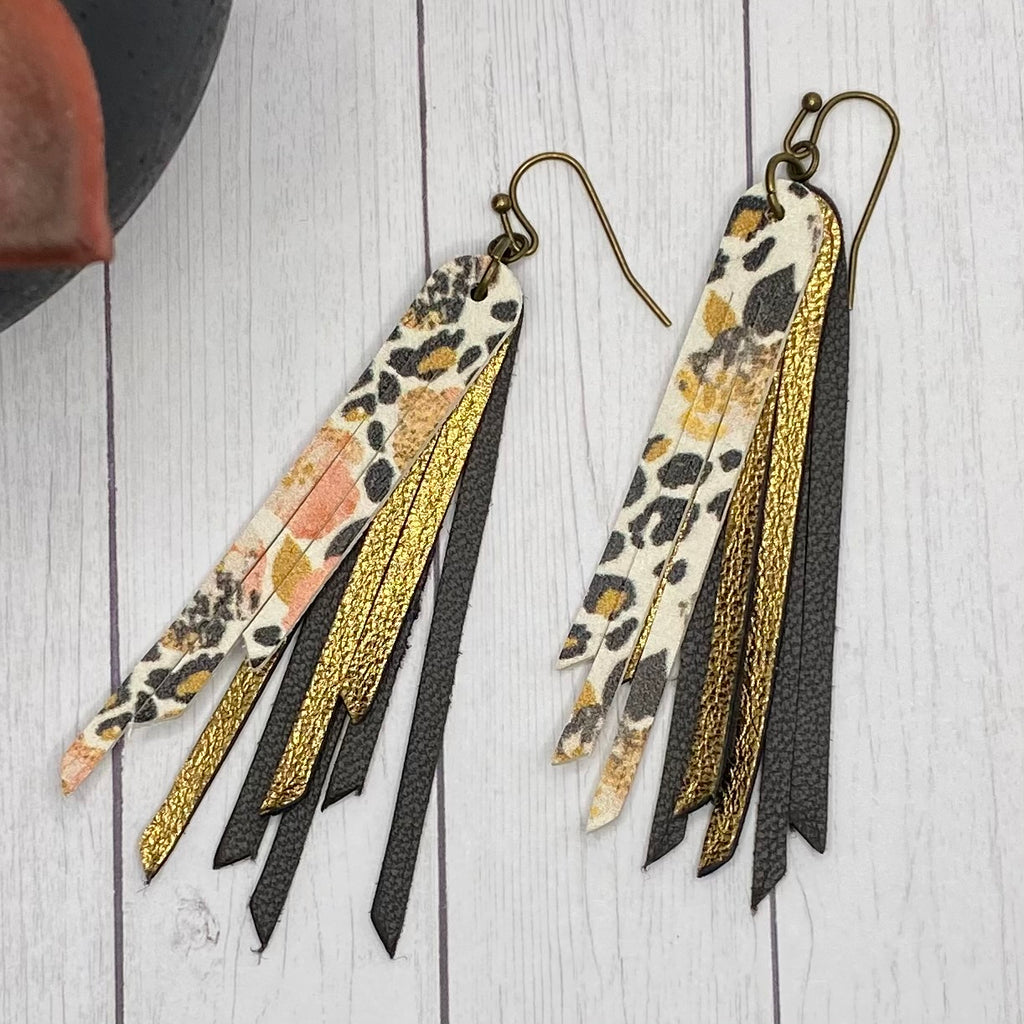 "2.75"" Genuine Leather Floral Fringe Earrings"