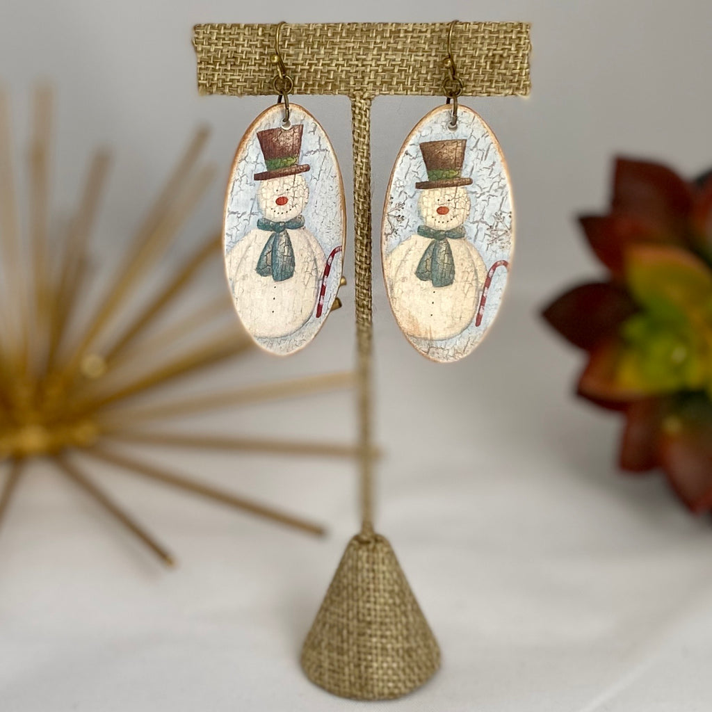 Snowman Wood Earrings