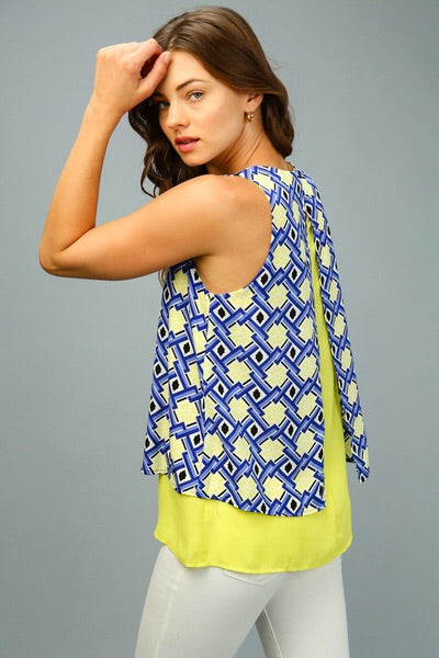 Geometric Layered Sleeveless Top