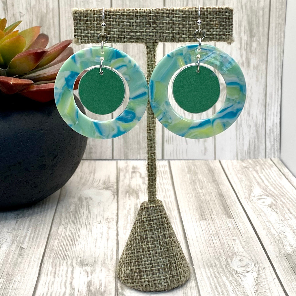 Wood  and Acrylic Earrings Mint Green and Blue Circle
