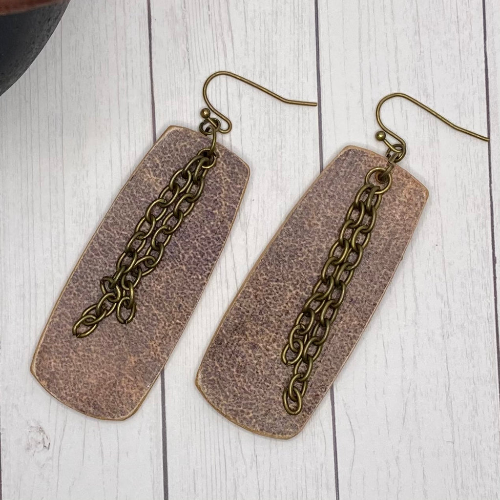 Brown Wood Rectangle Earrings with Bronze Chain