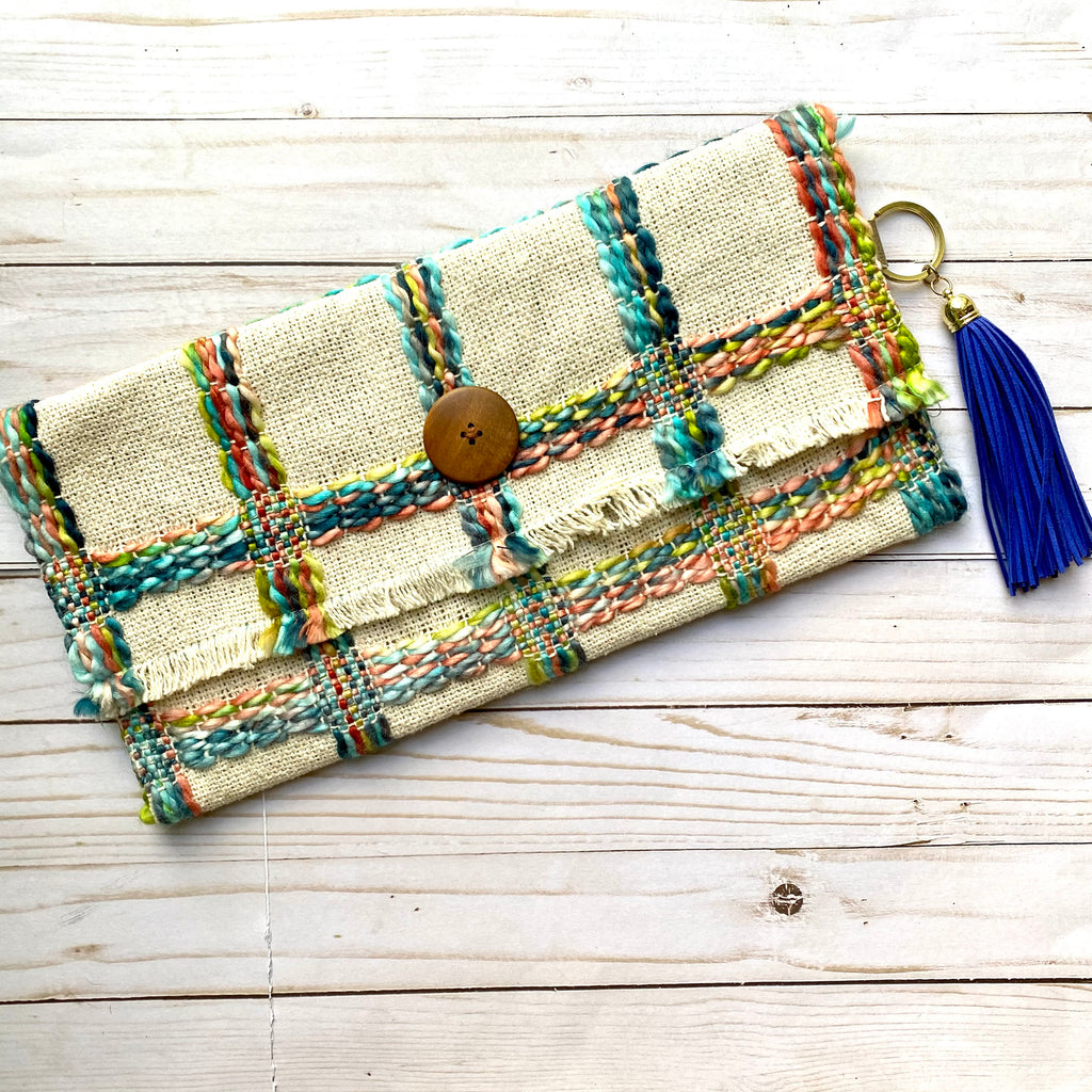 Multicolor Handmade Woven Rag Purse with Tassel