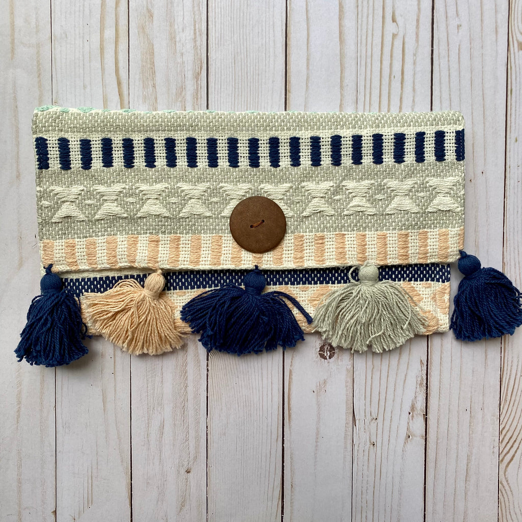 Boho Gray and Blue Handmade Woven Purse with Tassels