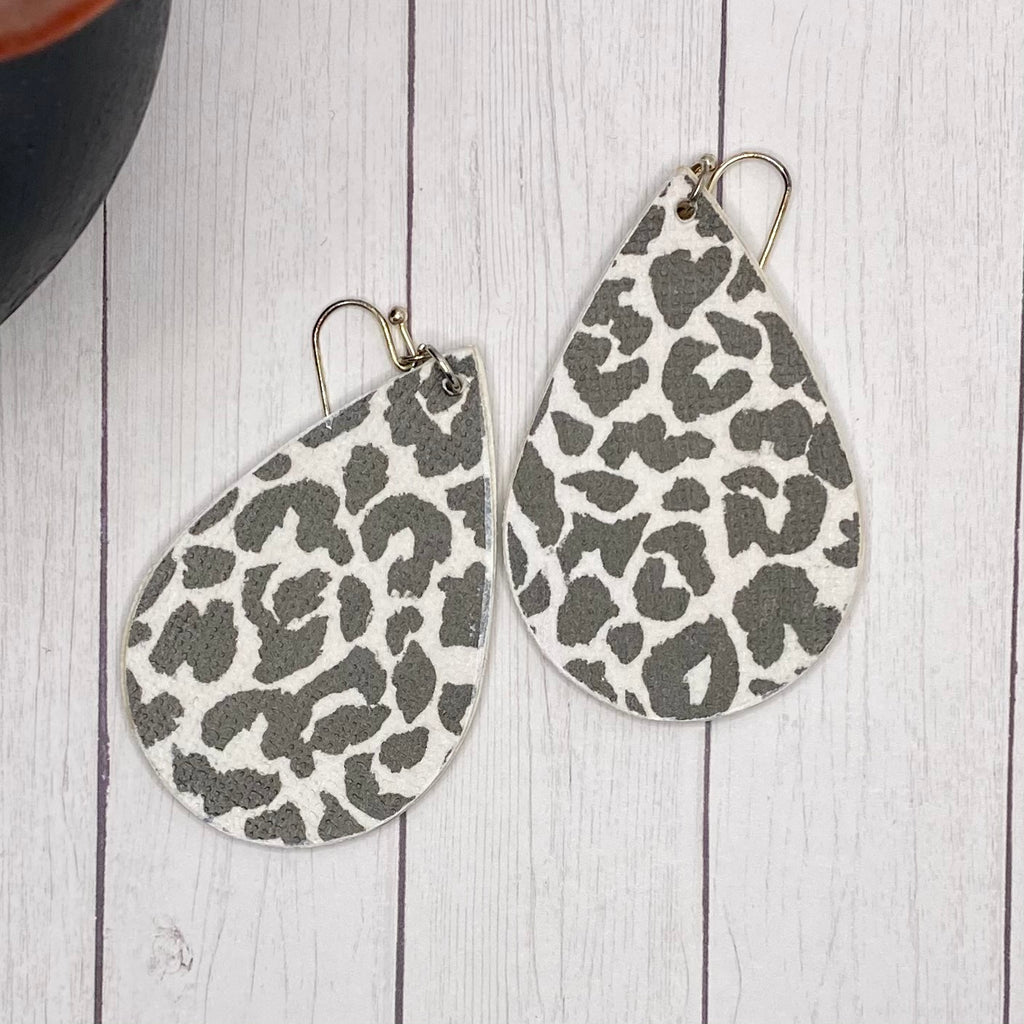 Black and White Leopard Wood Earrings