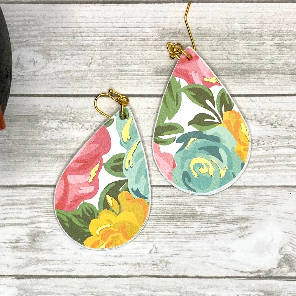 Gold Blue Pink Floral Wood Earrings