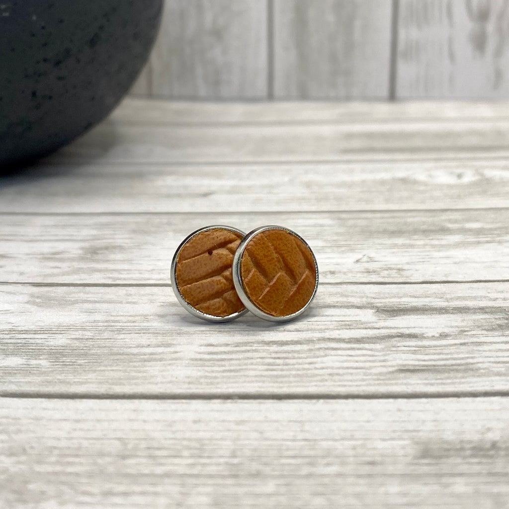 Tan Braided Stud Earrings