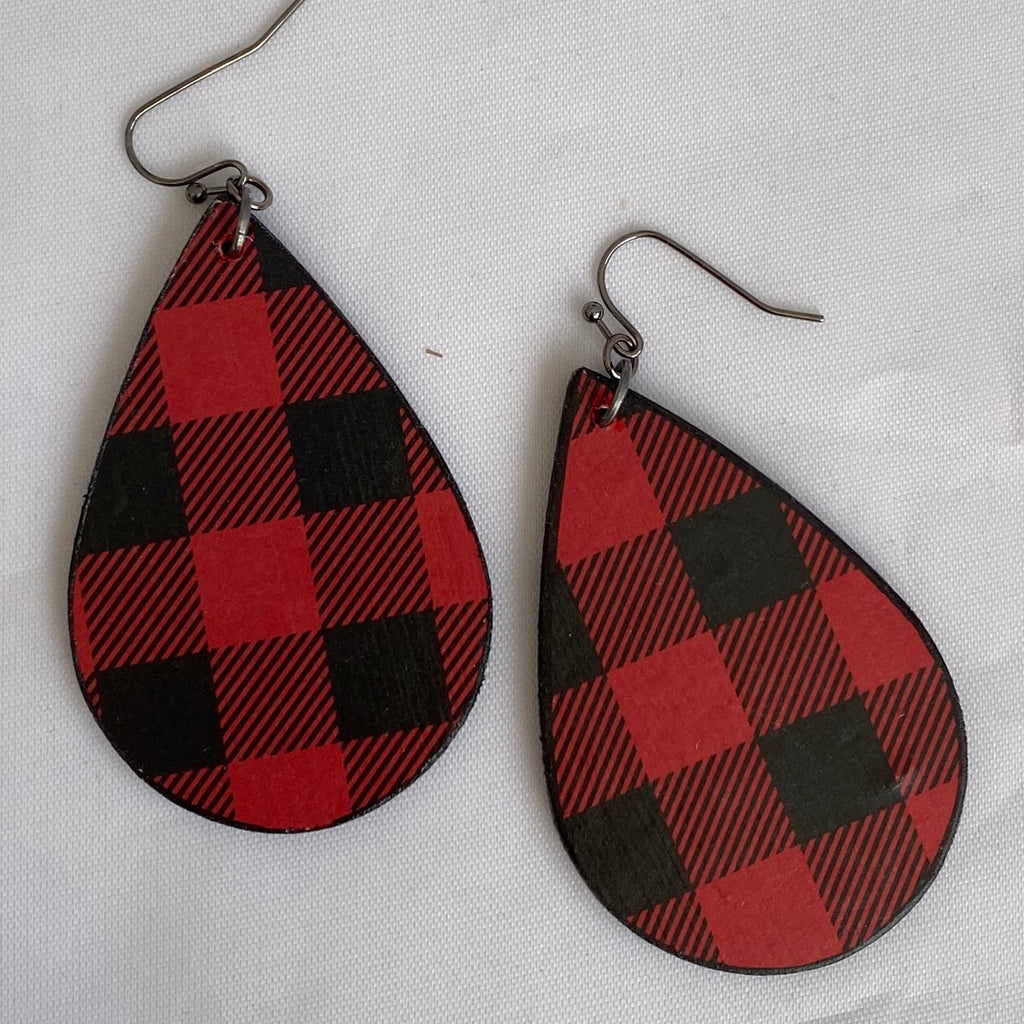 Red Buffalo Plaid Wood Earrings