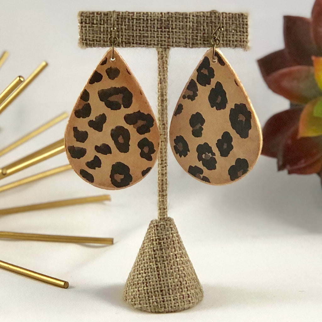 Leopard Animal Print Wood Earrings - the-a-to-z-boutique